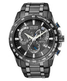 Citizen Men's Chronograph Eco-Drive Gray Ion Plated Stainless Steel Bracelet Watch 43mm AT4007-54E