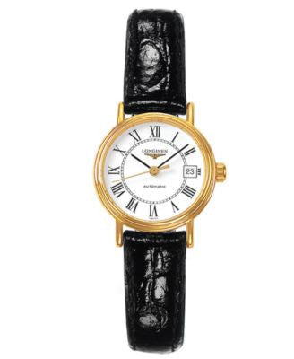 Longines Watch, Women's Swiss Automatic Presence Black Croc Embossed Leather Strap L43212112