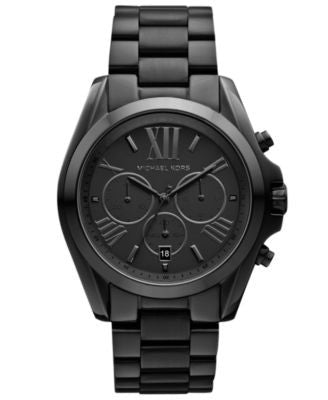 Michael Kors Women's Chronograph Bradshaw Black Ion Plated Stainless Steel Bracelet Watch 43mm MK555
