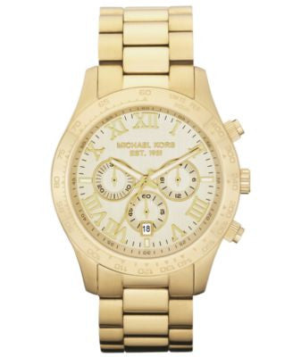 Michael Kors Men's Chronograph Layton Gold-Tone Stainless Steel Bracelet Watch 45mm MK8214