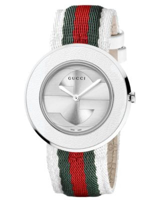Gucci Watch, Women's Swiss U-Play Green, Red and White Nylon Strap 35mm YA129411