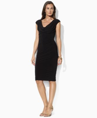 Lauren Ralph Lauren Cap-Sleeve Drape-Neck Sheath Dress