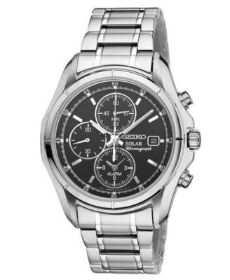 Seiko Watch, Men's Solar Chronograph Stainless Steel Bracelet 39mm SSC001