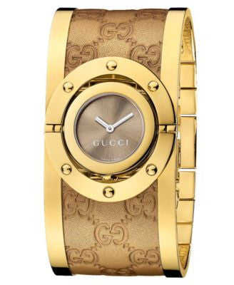 Gucci Watch, Women's Swiss Twirl Yellow Gold Plated Stainless Steel and Guccisima Leather Bangle Bra