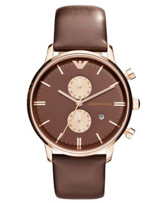 Emporio Armani Watch, Chronograph Brown Leather Strap 43mm AR0387