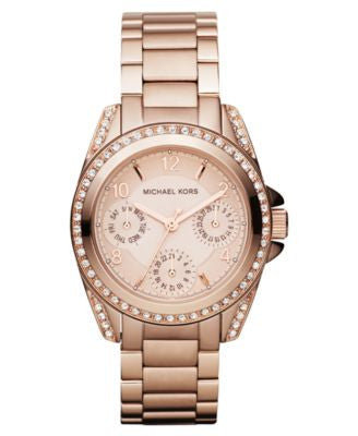 Michael Kors Women's Chronograph Mini Blair Rose Gold-Tone Stainless Steel Bracelet Watch 33mm MK561