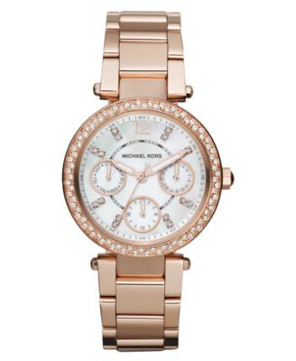 Michael Kors Women's Chronograph Mini Parker Rose Gold-Tone Stainless Steel Bracelet Watch 33mm MK56