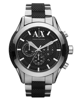 A|X Armani Exchange Watch, Men's Chronograph Black Silicone Wrapped Stainless Steel Bracelet 47mm AX