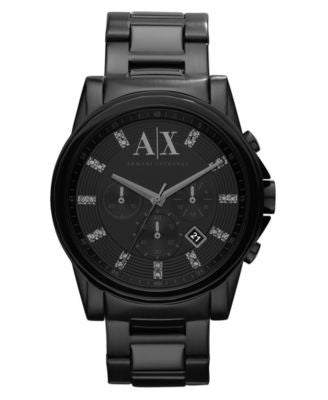 A|X Armani Exchange Watch, Men's Chronograph Black Ion Plated Stainless Steel Bracelet 45mm AX2093