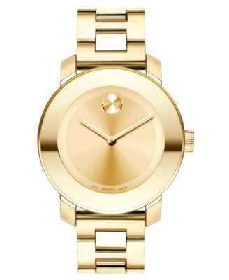 Movado Women's Swiss Bold Gold-Tone Stainless Steel Bracelet Watch 38mm 3600085