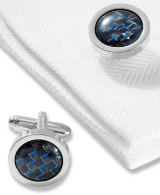 Geoffrey Beene Cufflinks, Polished Rhodium round With Black and Blue Carbon Center Boxed Set
