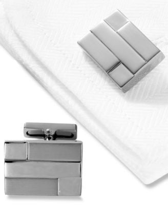 Kenneth Cole New York Cufflinks, Polished & Brushed Hematite Layered Rectangle