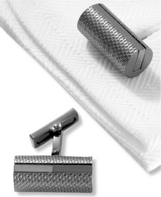 Kenneth Cole New York Cufflinks, Brushed Hematite Barrel