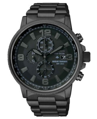 Citizen Men's Chronograph Eco-Drive Nighthawk Black Ion Plated Stainless Steel Bracelet Watch 43mm C
