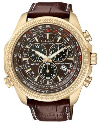 Citizen Men's Chronograph Eco-Drive Dark Brown Leather Strap Watch 43mm BL5403-03X
