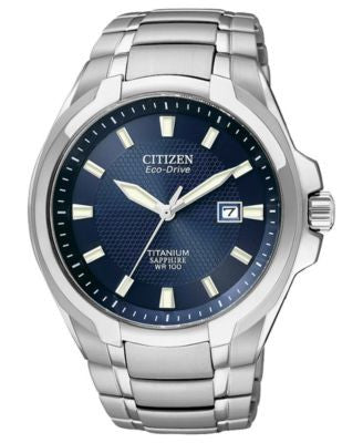 Citizen Men's Eco-Drive Silver-Tone Titanium Bracelet Watch 42mm BM7170-53L