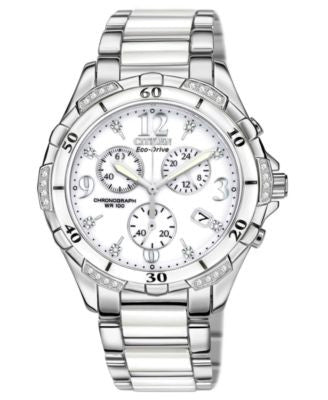 Citizen Women's Chronograph Eco-Drive Diamond Accent Stainless Steel and White Ceramic Bracelet Watc