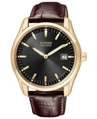 Citizen Men's Eco-Drive Brown Leather Strap Watch 40mm AU1043-00E