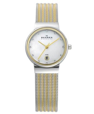 Skagen Watch, Women's Two Tone Mesh Stainless Steel Bracelet 26mm 355SSGS