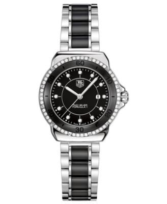 TAG Heuer Women's Swiss Formula 1 Diamond (1/3 ct. t.w.) Stainless Steel and Black Ceramic Bracelet