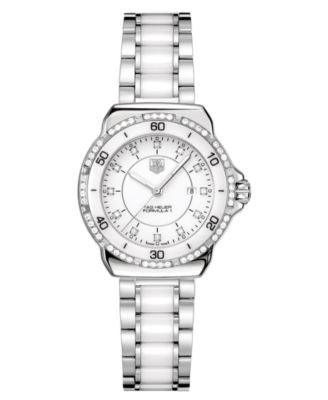 TAG Heuer Women's Swiss Formula 1 Diamond (1/3 ct. t.w.) Stainless Steel and White Ceramic Bracelet