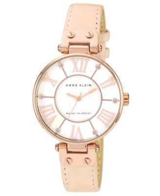 Anne Klein Watch, Women's Peach Leather Strap 34mm 10-9918RGLP