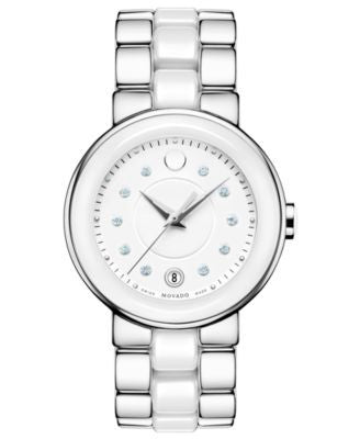 Movado Women's Swiss Cerena Diamond Accent White Ceramic and Stainless Steel Bracelet Watch 36mm 606
