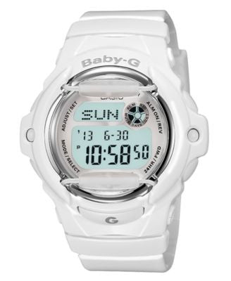 Baby-G Watch, Women's Digital White Resin Strap 46x43mm BG169R-7A