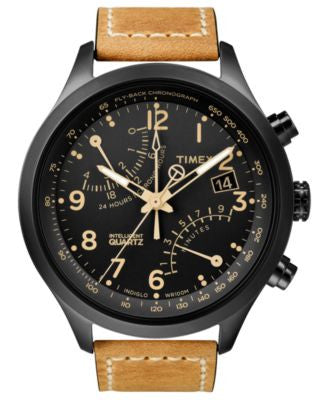 Timex Watch, Men's Intelligent Quartz Fly-Back Chrono Tan Leather Strap 43mm T2N700AB
