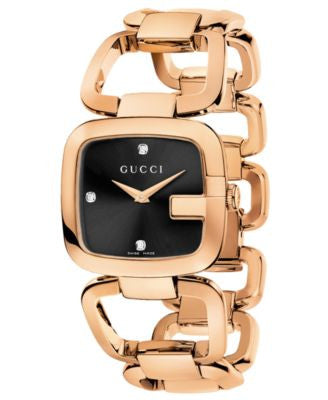 Gucci Watch, Women's Swiss G-Gucci Diamond Accent Pink Gold-Tone PVD Stainless Steel Bracelet 32x30m