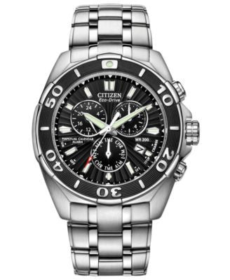 Citizen Men's Eco-Drive Signature Perpetual Calendar Chronograph Stainless Steel Bracelet Watch 43mm