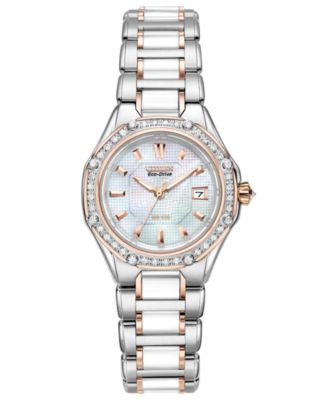 Citizen Women's Eco-Drive Signature Diamond (3/8 ct. t.w.) Ceramic Two Tone Stainless Steel Bracelet