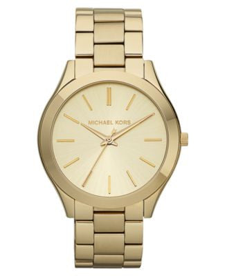 Michael Kors Women's Slim Runway Gold-Tone Stainless Steel Bracelet Watch 42mm MK3179