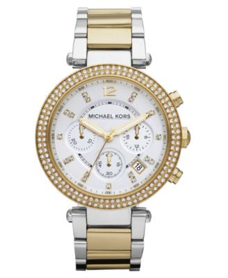 Michael Kors Women's Chronograph Parker Two Tone Stainless Steel Bracelet Watch 39mm MK5626