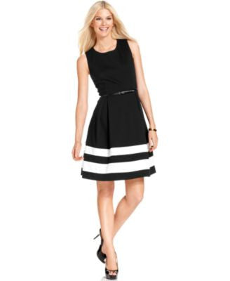 Calvin Klein Petite Colorblocked Belted A-Line Dress