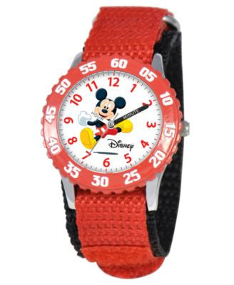Disney Watch, Kid's Mickey Mouse Time Teacher Red Velcro Strap 31mm W000003