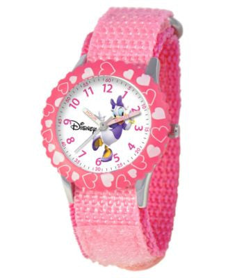 Disney Watch, Kid's Daisy Duck Time Teacher Pink Velcro Strap 31mm W000146