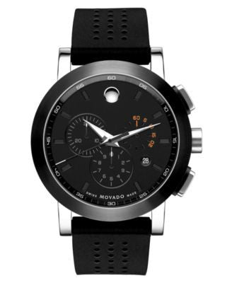 Movado Men's Swiss Museum Sport Chronograph Black Perforated Rubber Strap Watch 44mm 606545