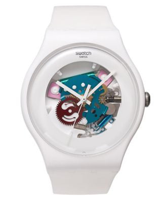 Swatch Watch, Unisex Swiss White Lacquered White Silicone Strap 41mm SUOW100