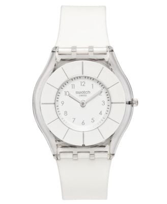 Swatch Watch, Unisex Swiss White Classiness White Silicone Strap 34mm SFK360