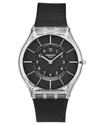 Swatch Watch, Unisex Swiss Black Classiness Black Silicone Strap 34mm SFK361