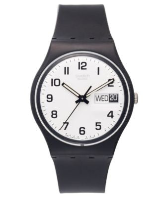 Swatch Watch, Unisex Swiss Once Again Black Plastic Strap 34mm GB743