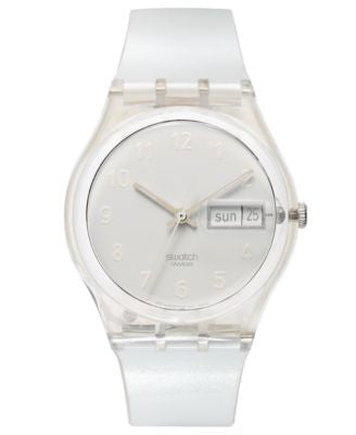 Swatch Watch, Unisex Swiss Snowcovered Shiny White Plastic Strap 34mm GK733