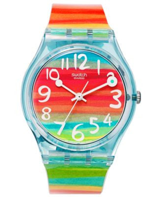 Swatch Watch, Unisex Swiss Color the Sky Rainbow Plastic Strap 34mm GS124