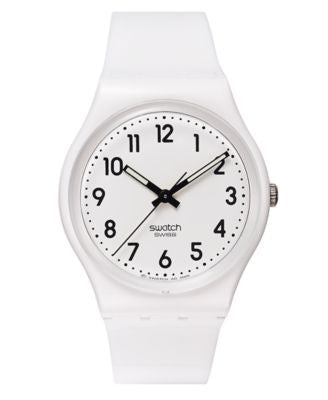 Swatch Watch, Unisex Swiss Just White White Strap 34mm GW151