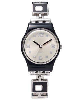 Swatch Watch, Women's Swiss Chessboard Black and White Enamel and Stainless Steel Bracelet 25mm LB16