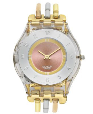 Swatch Watch, Women's Swiss Tri-Gold Small Tri-Tone Stainless Steel Three Bar Bracelet 34mm SFK240B