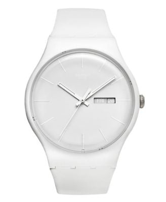 Swatch Watch, Unisex Swiss White Rebel White Silicone Strap 41mm SUOW701