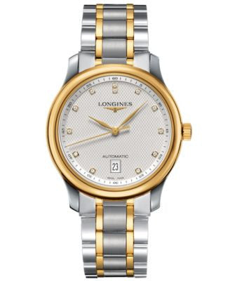 Longines Watch, Men's Swiss Automatic Master Diamond Accent 18k Gold and Stainless Steel Bracelet 39