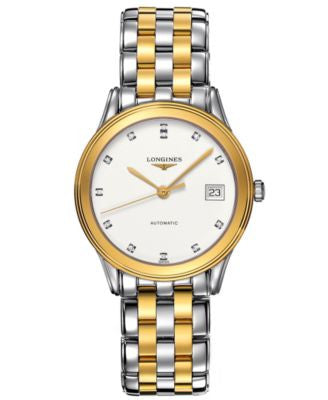 Longines Watch, Men's Swiss Automatic Flagship Diamond Accent Two Tone Stainless Steel Bracelet 36mm